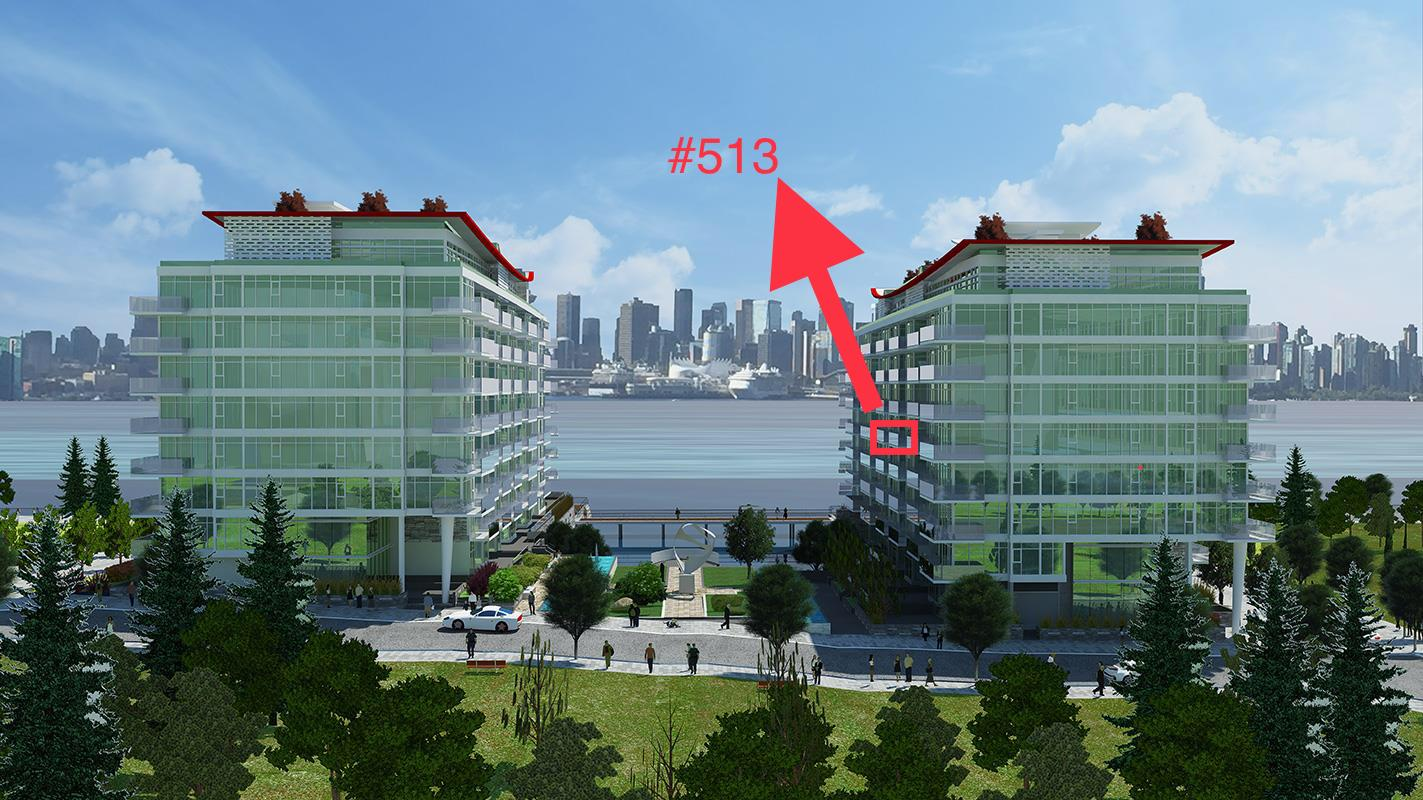 #513 - 175 Victory Ship Way, North Vancouver, BC - Lower Lonsdale Apartment/Condo for sale, 1 Bedroom (R2258633) #1